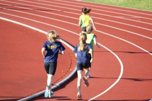 Juniors competing on the track